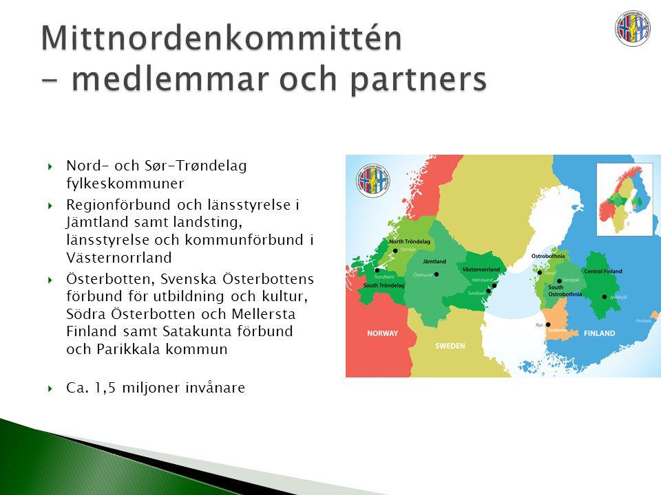  Nord- och Sør-Trøndelag fylkeskommuner  Regionförbund och länsstyrelse i Jämtland samt landsting, länsstyrelse och kommunförbund i Västernorrland  Österbotten, Svenska Österbottens förbund för utbildning och kultur, Södra Österbotten och Mellersta Finland samt Satakunta förbund och Parikkala kommun  Ca.