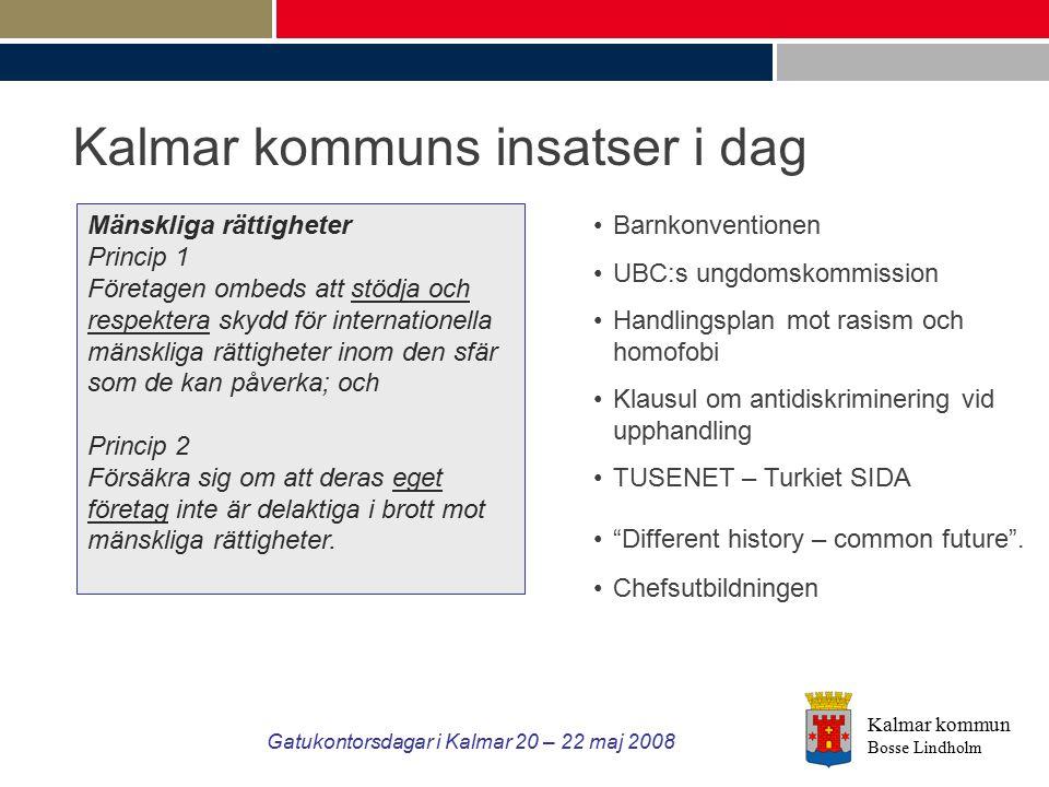 Kalmar kommun Bosse Lindholm Gatukontorsdagar i Kalmar 20 – 22 maj 2008 Kalmar kommuns insatser i dag Mänskliga rättigheter Princip 1 Företagen ombeds