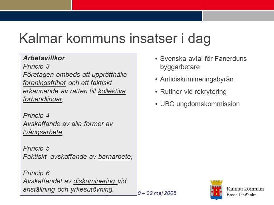 Kalmar kommun Bosse Lindholm Gatukontorsdagar i Kalmar 20 – 22 maj 2008 Kalmar kommuns insatser i dag Arbetsvillkor Princip 3 Företagen ombeds att upp
