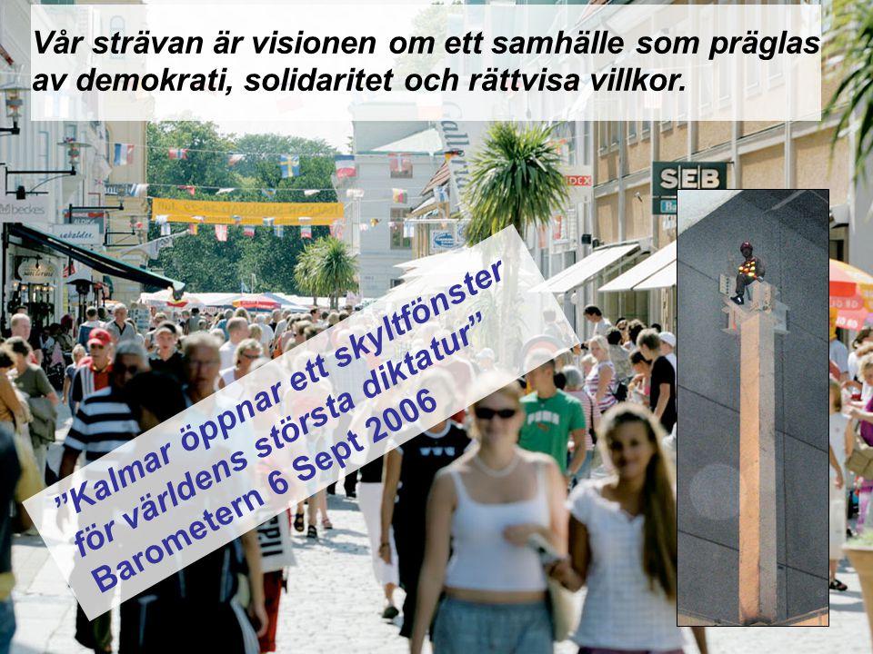 """Kalmar kommun Bosse Lindholm Gatukontorsdagar i Kalmar 20 – 22 maj 2008 """"Kalmar öppnar ett skyltfönster för världens största diktatur"""" Barometern 6 Se"""