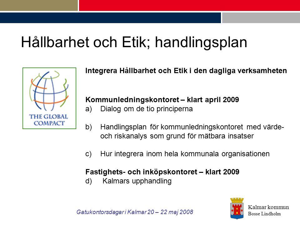 Kalmar kommun Bosse Lindholm Gatukontorsdagar i Kalmar 20 – 22 maj 2008 Integrera Hållbarhet och Etik i den dagliga verksamheten Kommunledningskontore