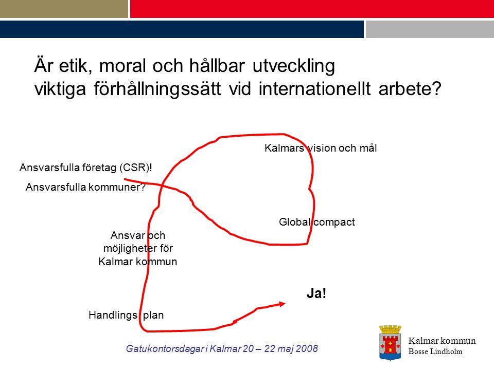 Kalmar kommun Bosse Lindholm Gatukontorsdagar i Kalmar 20 – 22 maj 2008 Ansvarsfulla företag (CSR)! Ansvarsfulla kommuner? Kalmars vision och mål Glob