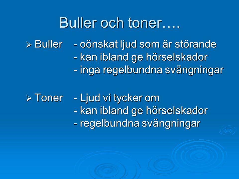 Buller och toner….  Buller - oönskat ljud som är störande - kan ibland ge hörselskador - inga regelbundna svängningar  Toner- Ljud vi tycker om - ka