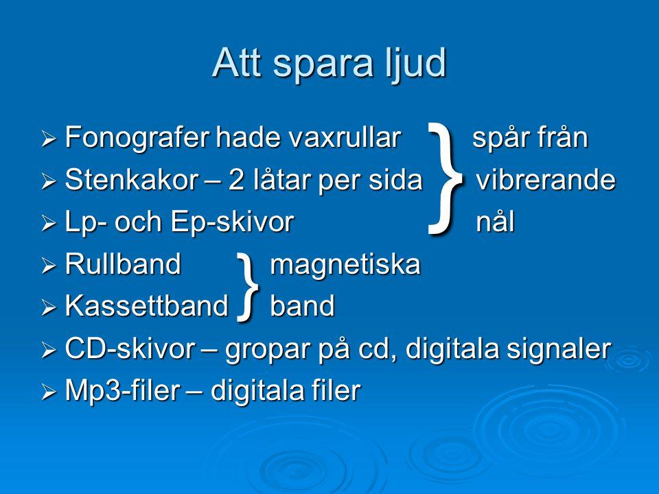  Fonografer hade vaxrullar spår från  Stenkakor – 2 låtar per sida vibrerande  Lp- och Ep-skivor nål  Rullband magnetiska  Kassettband band  CD-