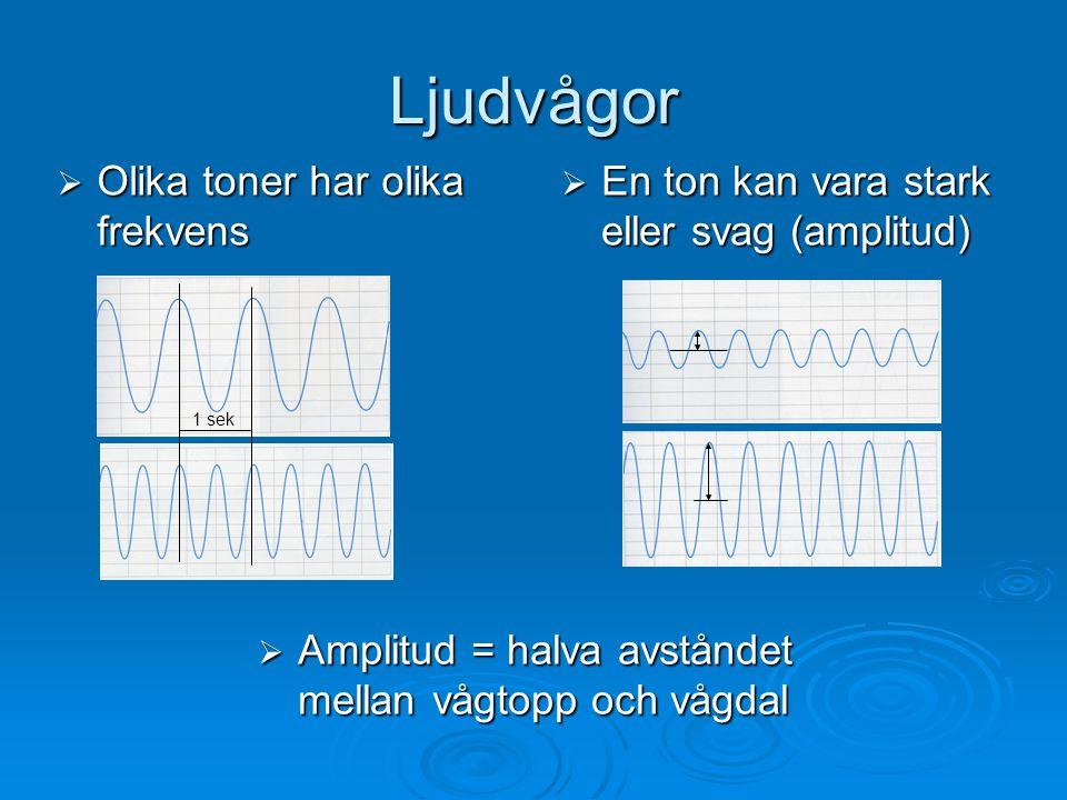 Ljudvågor  Olika toner har olika frekvens  En ton kan vara stark eller svag (amplitud)  Amplitud = halva avståndet mellan vågtopp och vågdal 1 sek