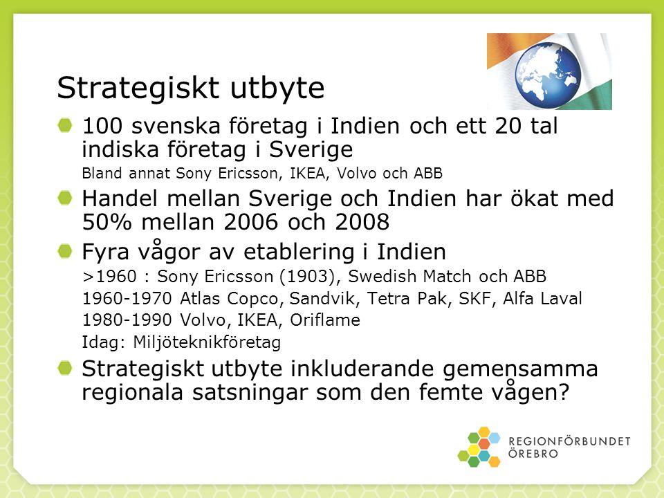 Strategiskt utbyte 100 svenska företag i Indien och ett 20 tal indiska företag i Sverige Bland annat Sony Ericsson, IKEA, Volvo och ABB Handel mellan Sverige och Indien har ökat med 50% mellan 2006 och 2008 Fyra vågor av etablering i Indien >1960 : Sony Ericsson (1903), Swedish Match och ABB 1960-1970 Atlas Copco, Sandvik, Tetra Pak, SKF, Alfa Laval 1980-1990 Volvo, IKEA, Oriflame Idag: Miljöteknikföretag Strategiskt utbyte inkluderande gemensamma regionala satsningar som den femte vågen