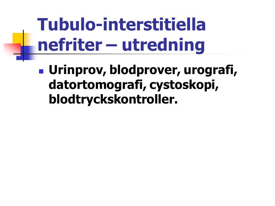 Tubulo-interstitiella nefriter – utredning Urinprov, blodprover, urografi, datortomografi, cystoskopi, blodtryckskontroller.
