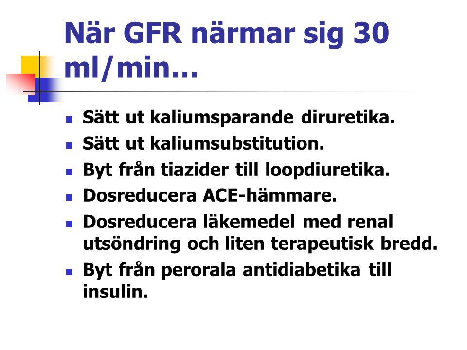 När GFR närmar sig 30 ml/min… Sätt ut kaliumsparande diruretika. Sätt ut kaliumsubstitution. Byt från tiazider till loopdiuretika. Dosreducera ACE-häm