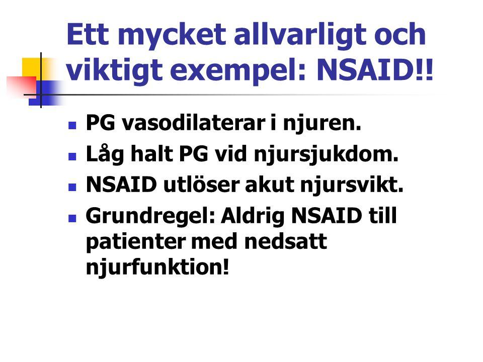 Ett mycket allvarligt och viktigt exempel: NSAID!! PG vasodilaterar i njuren. Låg halt PG vid njursjukdom. NSAID utlöser akut njursvikt. Grundregel: A