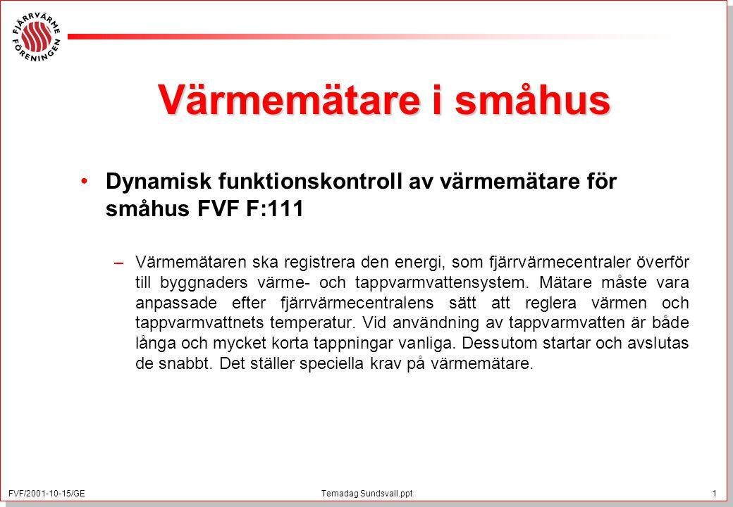 FVF/2001-10-15/GE 1 Temadag Sundsvall.ppt Värmemätare i småhus Dynamisk funktionskontroll av värmemätare för småhus FVF F:111 –Värmemätaren ska registrera den energi, som fjärrvärmecentraler överför till byggnaders värme- och tappvarmvattensystem.