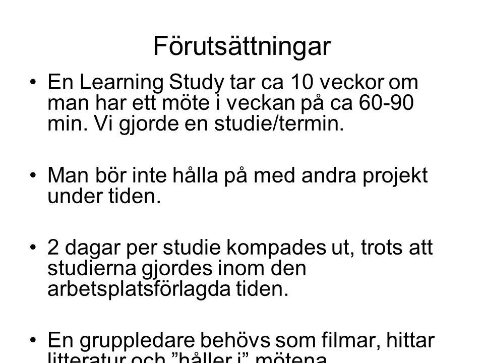 Förutsättningar En Learning Study tar ca 10 veckor om man har ett möte i veckan på ca 60-90 min.