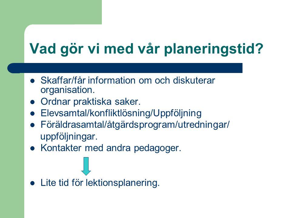 Vad gör vi med vår planeringstid.Skaffar/får information om och diskuterar organisation.