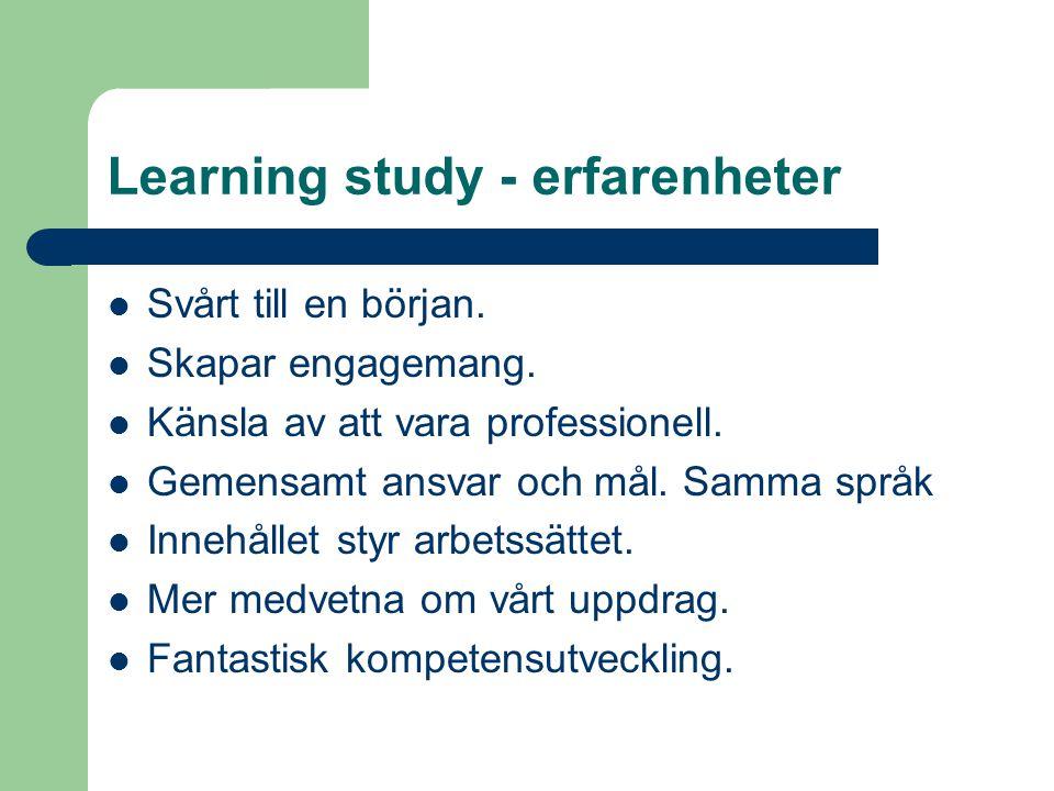 Learning study - erfarenheter Svårt till en början.