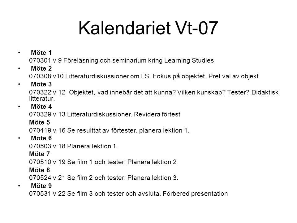 Kalendariet Vt-07 Möte 1 070301 v 9 Föreläsning och seminarium kring Learning Studies Möte 2 070308 v10 Litteraturdiskussioner om LS.