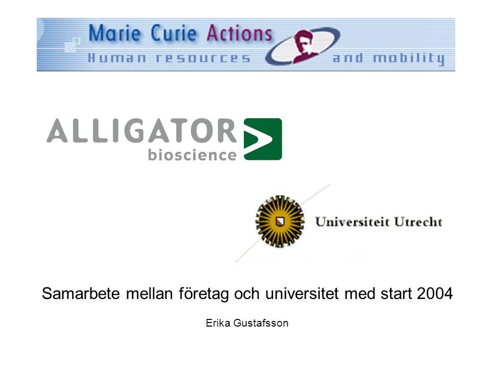 Samarbete mellan företag och universitet med start 2004 Erika Gustafsson
