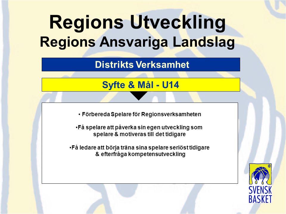 Distrikts Verksamhet Förbereda Spelare för Regionsverksamheten Få spelare att påverka sin egen utveckling som spelare & motiveras till det tidigare Få