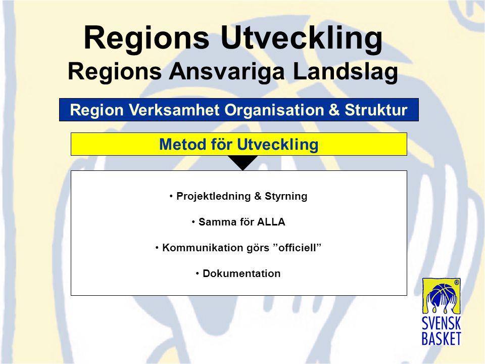 """Projektledning & Styrning Samma för ALLA Kommunikation görs """"officiell"""" Dokumentation Region Verksamhet Organisation & Struktur Metod för Utveckling R"""