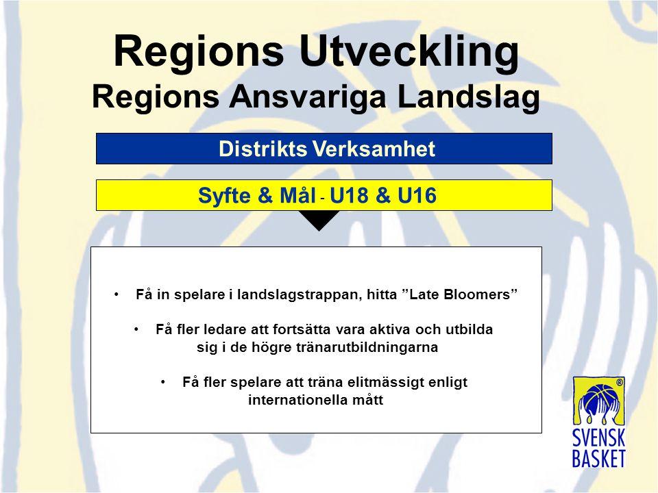 """Distrikts Verksamhet Regions Utveckling Regions Ansvariga Landslag Syfte & Mål - U18 & U16 Få in spelare i landslagstrappan, hitta """"Late Bloomers"""" Få"""