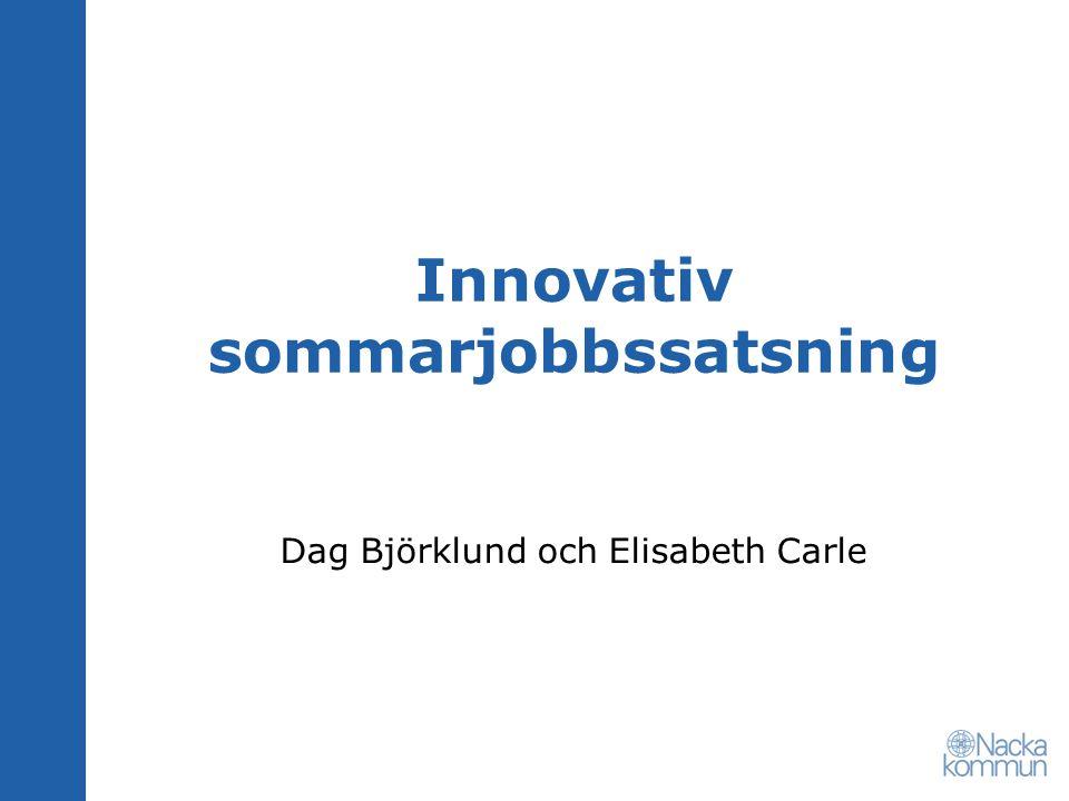 Innovativ sommarjobbssatsning Dag Björklund och Elisabeth Carle