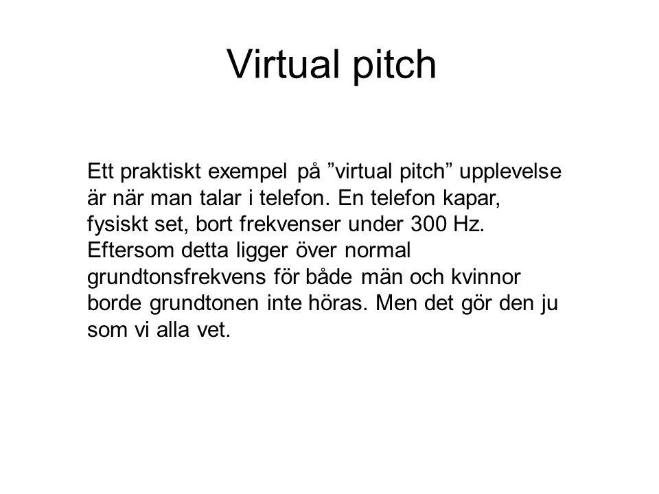 Virtual pitch Om man högpassfiltrerar tal så att grundtonen försvinner tycker man sig ändå höra den.