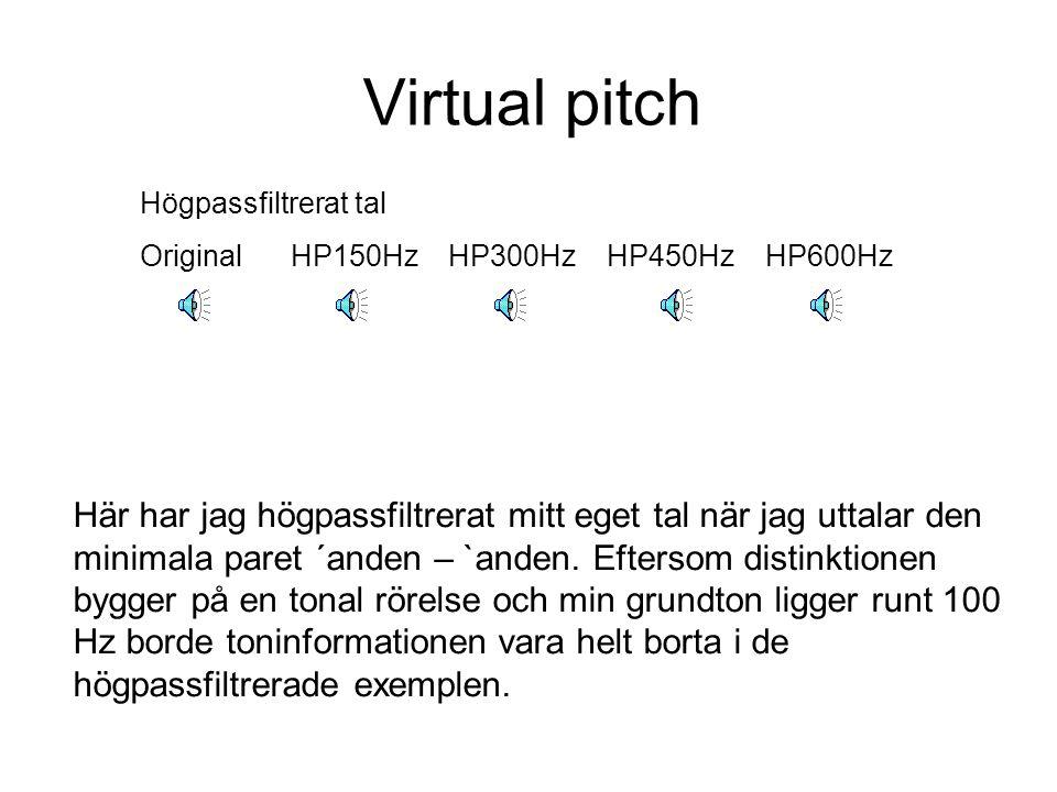 Virtual pitch Ett praktiskt exempel på virtual pitch upplevelse är när man talar i telefon.