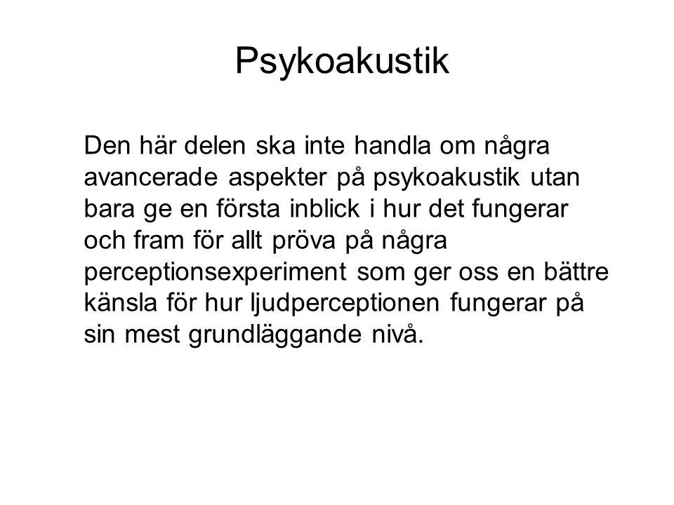 Psykoakustik Psykoakustiken är en gren av psykofysiken.