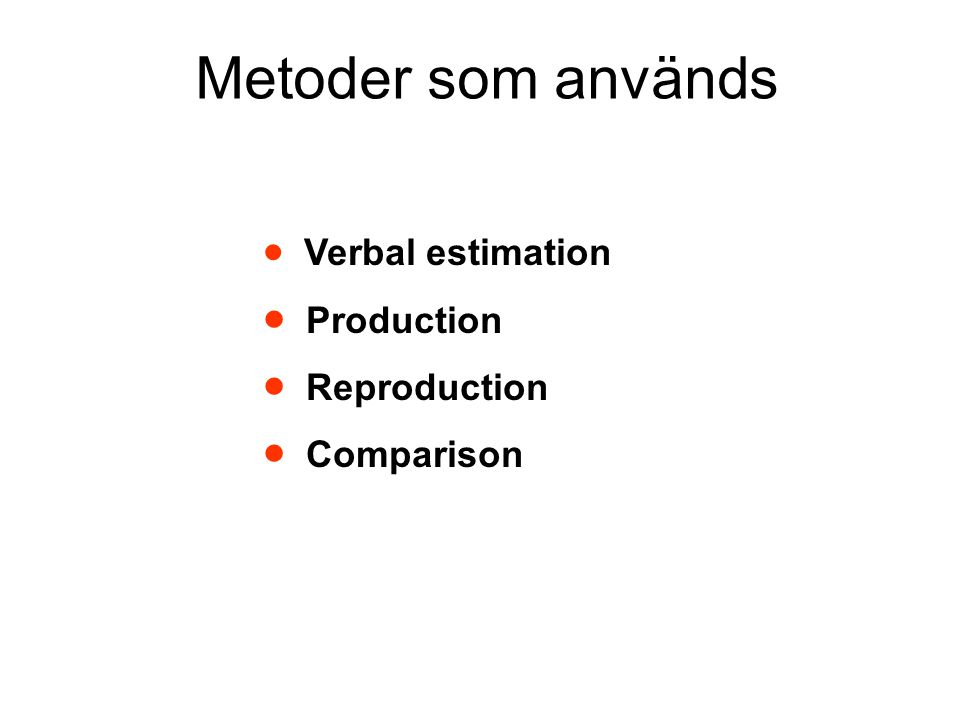 Metoder som används  Verbal estimation  Production  Reproduction  Comparison