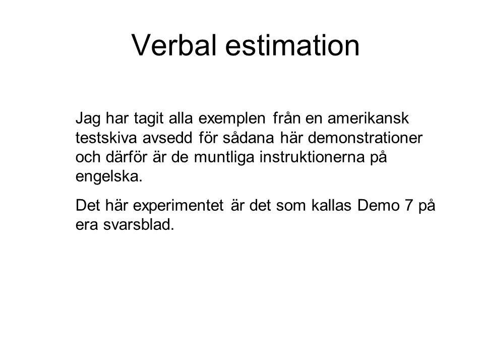 Verbal estimation Låt oss genast kasta oss över vårt första experiment.