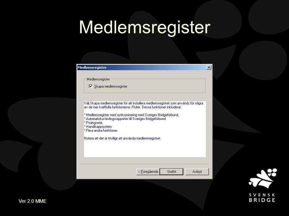 Ver 2.0 MME Nu är du klar med installationen När registret är installerat så kan du börja använda Ruter Registret kan uppdateras senare Glöm inte att skydda ditt licensnummer
