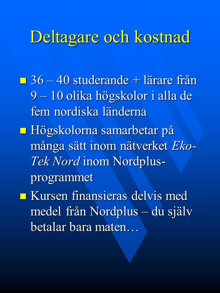 Deltagare och kostnad 36 – 40 studerande + lärare från 9 – 10 olika högskolor i alla de fem nordiska länderna 36 – 40 studerande + lärare från 9 – 10 olika högskolor i alla de fem nordiska länderna Högskolorna samarbetar på många sätt inom nätverket Eko- Tek Nord inom Nordplus- programmet Högskolorna samarbetar på många sätt inom nätverket Eko- Tek Nord inom Nordplus- programmet Kursen finansieras delvis med medel från Nordplus – du själv betalar bara maten… Kursen finansieras delvis med medel från Nordplus – du själv betalar bara maten…