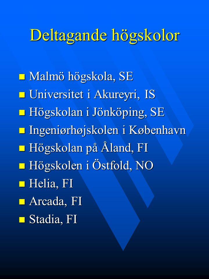 Deltagande högskolor Malmö högskola, SE Malmö högskola, SE Universitet i Akureyri, IS Universitet i Akureyri, IS Högskolan i Jönköping, SE Högskolan i Jönköping, SE Ingeniørhøjskolen i København Ingeniørhøjskolen i København Högskolan på Åland, FI Högskolan på Åland, FI Högskolen i Östfold, NO Högskolen i Östfold, NO Helia, FI Helia, FI Arcada, FI Arcada, FI Stadia, FI Stadia, FI