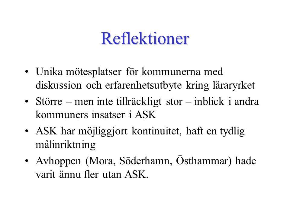Reflektioner Unika mötesplatser för kommunerna med diskussion och erfarenhetsutbyte kring läraryrket Större – men inte tillräckligt stor – inblick i andra kommuners insatser i ASK ASK har möjliggjort kontinuitet, haft en tydlig målinriktning Avhoppen (Mora, Söderhamn, Östhammar) hade varit ännu fler utan ASK.