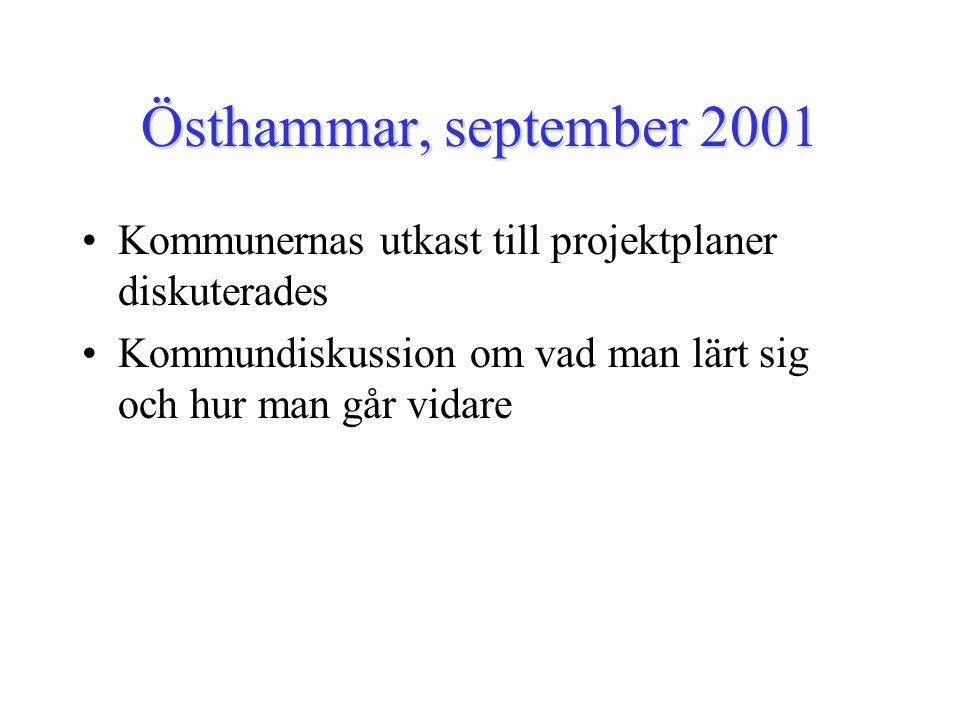 Östhammar, september 2001 Kommunernas utkast till projektplaner diskuterades Kommundiskussion om vad man lärt sig och hur man går vidare