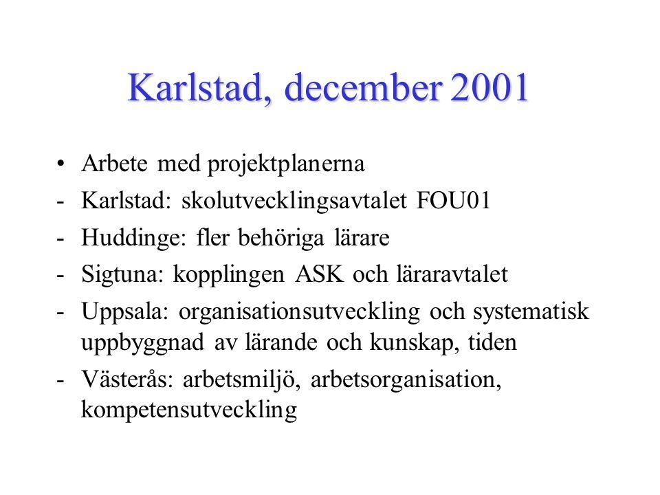 Karlstad, december 2001 Arbete med projektplanerna -Karlstad: skolutvecklingsavtalet FOU01 -Huddinge: fler behöriga lärare -Sigtuna: kopplingen ASK och läraravtalet -Uppsala: organisationsutveckling och systematisk uppbyggnad av lärande och kunskap, tiden -Västerås: arbetsmiljö, arbetsorganisation, kompetensutveckling