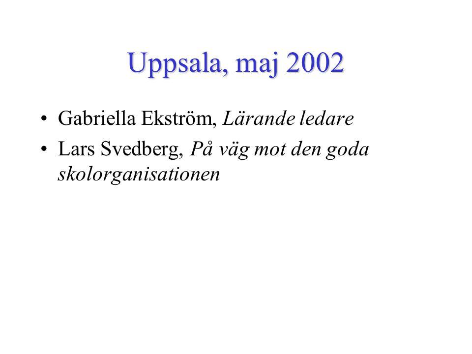 Uppsala, maj 2002 Gabriella Ekström, Lärande ledare Lars Svedberg, På väg mot den goda skolorganisationen