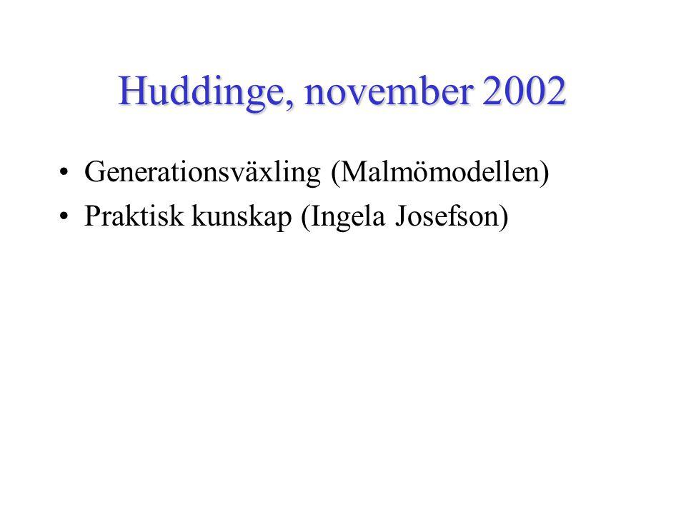Huddinge, november 2002 Generationsväxling (Malmömodellen) Praktisk kunskap (Ingela Josefson)