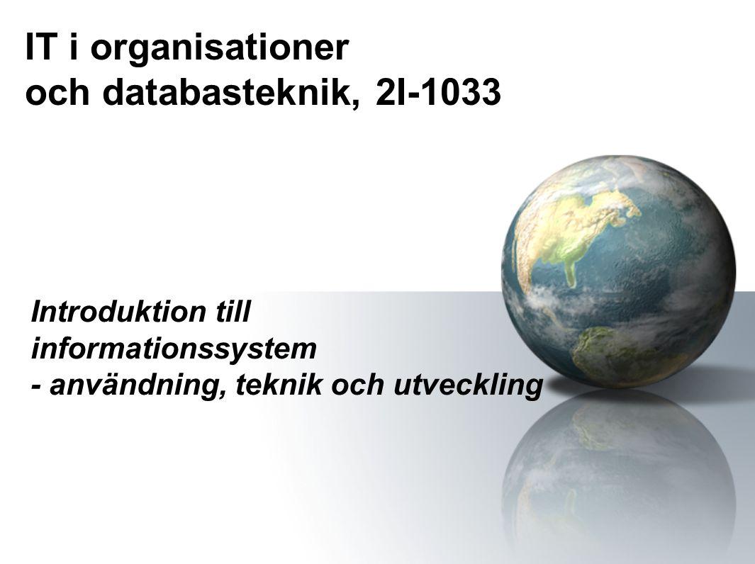 IT i organisationer och databasteknik, 2I-1033 Introduktion till informationssystem - användning, teknik och utveckling