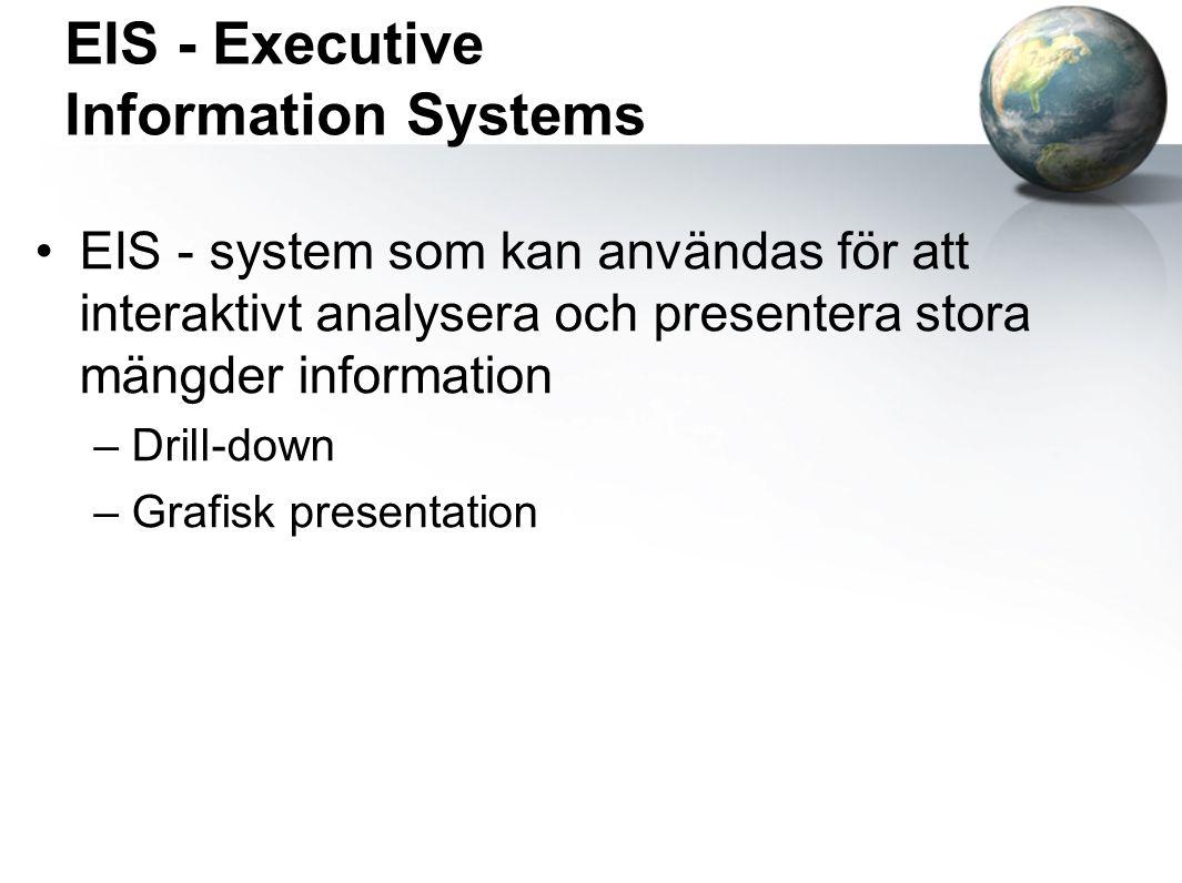 EIS - Executive Information Systems EIS - system som kan användas för att interaktivt analysera och presentera stora mängder information –Drill-down –Grafisk presentation