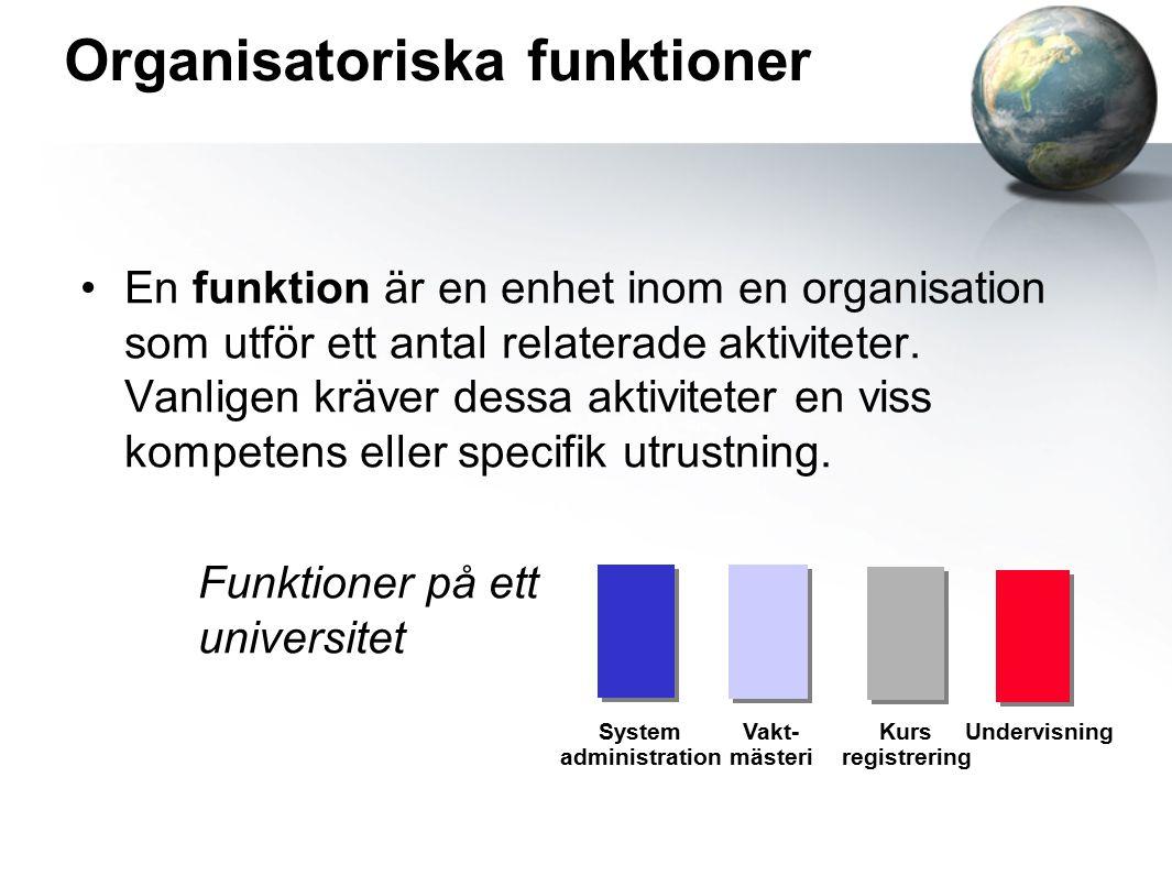 Organisatoriska funktioner En funktion är en enhet inom en organisation som utför ett antal relaterade aktiviteter.