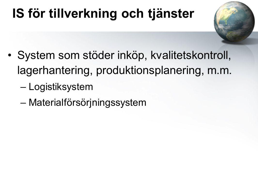 IS för tillverkning och tjänster System som stöder inköp, kvalitetskontroll, lagerhantering, produktionsplanering, m.m.