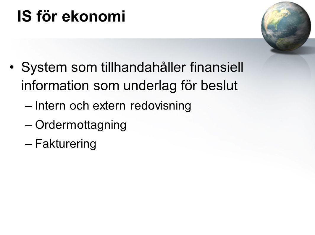 IS för ekonomi System som tillhandahåller finansiell information som underlag för beslut –Intern och extern redovisning –Ordermottagning –Fakturering