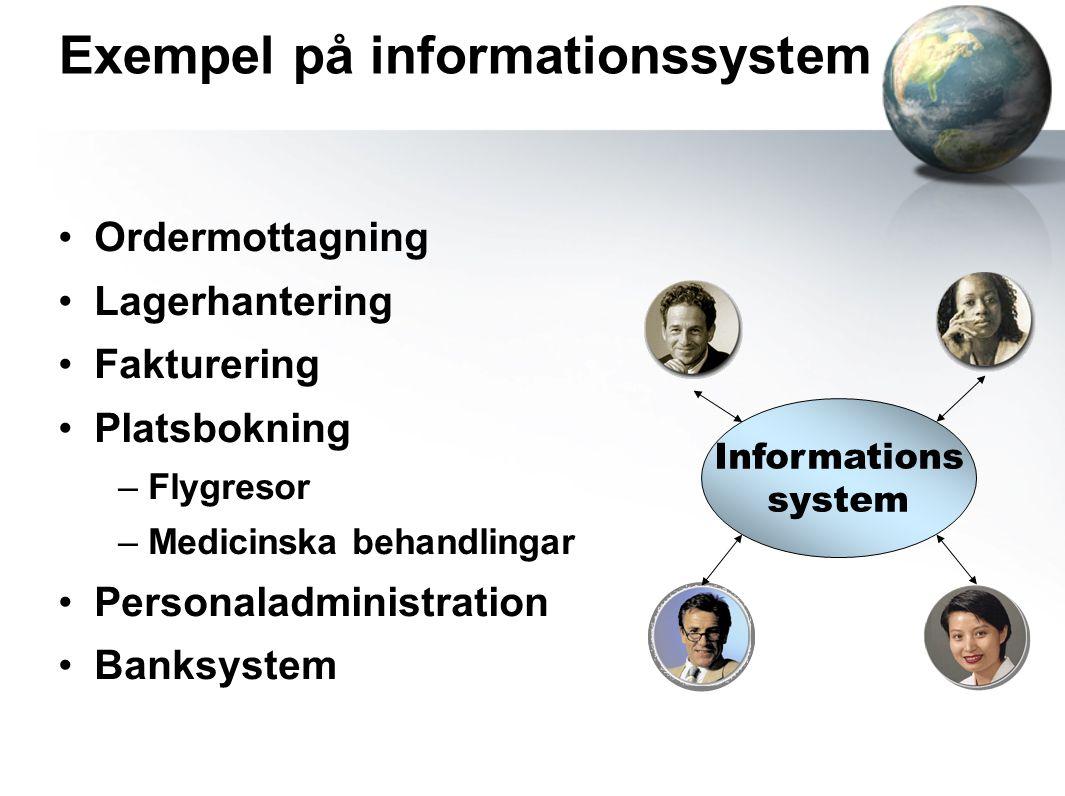 Exempel på informationssystem Ordermottagning Lagerhantering Fakturering Platsbokning – Flygresor – Medicinska behandlingar Personaladministration Banksystem Informations system