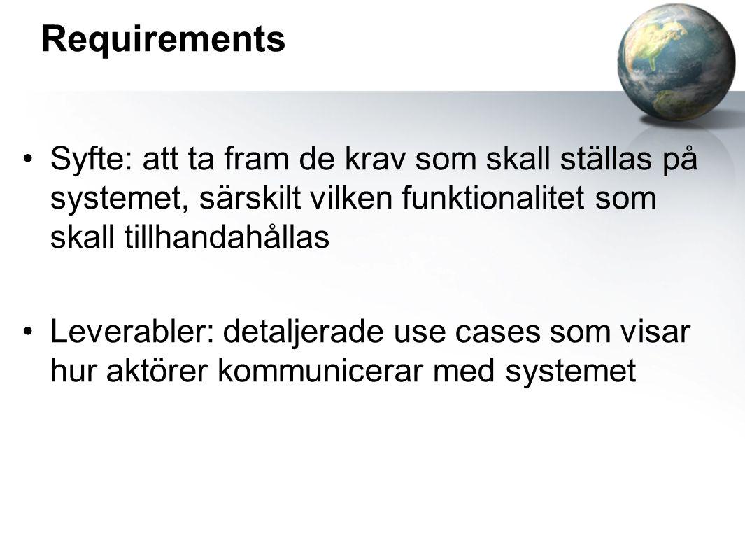 Requirements Syfte: att ta fram de krav som skall ställas på systemet, särskilt vilken funktionalitet som skall tillhandahållas Leverabler: detaljerade use cases som visar hur aktörer kommunicerar med systemet
