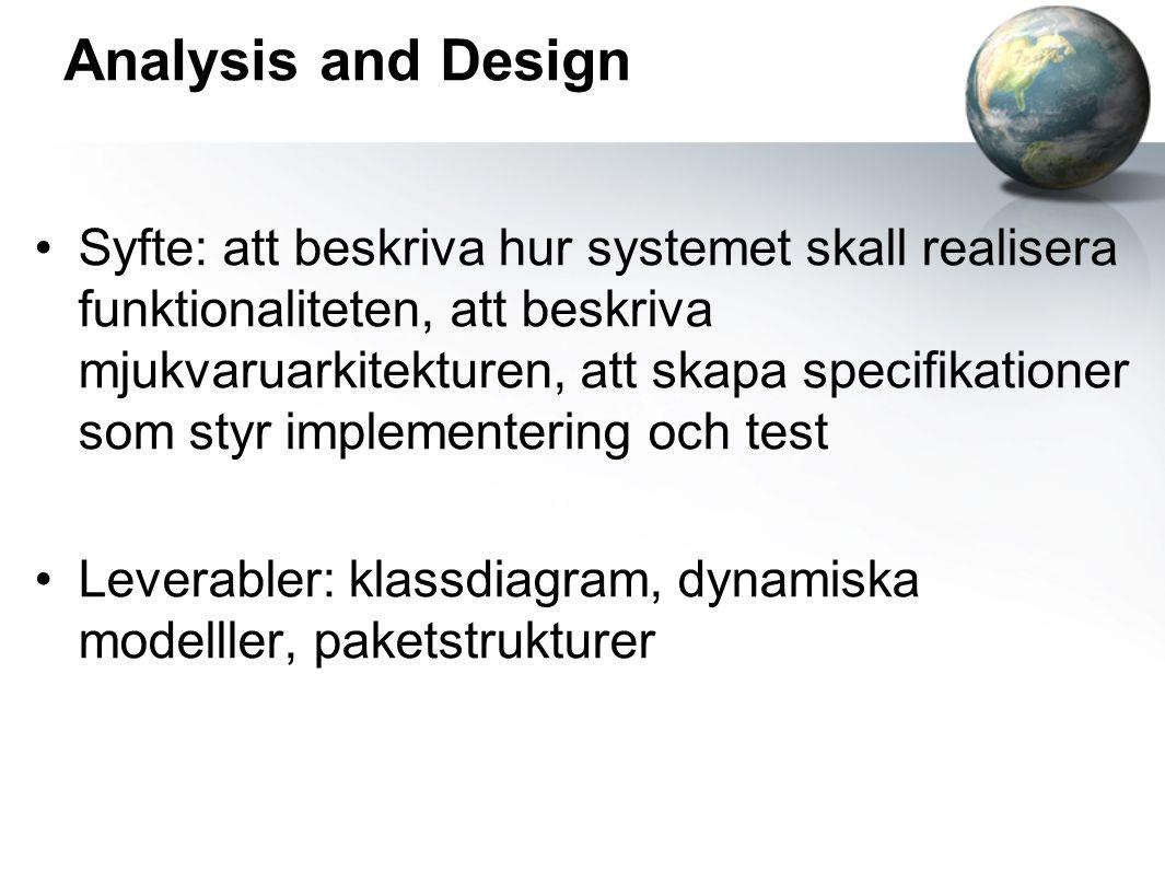 Analysis and Design Syfte: att beskriva hur systemet skall realisera funktionaliteten, att beskriva mjukvaruarkitekturen, att skapa specifikationer som styr implementering och test Leverabler: klassdiagram, dynamiska modelller, paketstrukturer