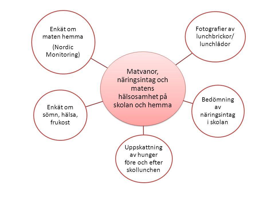 Matvanor, näringsintag och matens hälsosamhet på skolan och hemma Fotografier av lunchbrickor/ lunchlådor Bedömning av näringsintag i skolan Uppskattning av hunger före och efter skollunchen Enkät om sömn, hälsa, frukost Enkät om maten hemma (Nordic Monitoring)