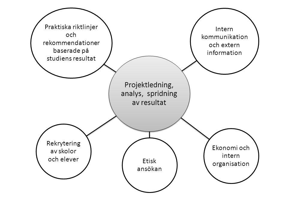 Projektledning, analys, spridning av resultat Intern kommunikation och extern information Ekonomi och intern organisation Etisk ansökan Rekrytering av skolor och elever Praktiska riktlinjer och rekommendationer baserade på studiens resultat