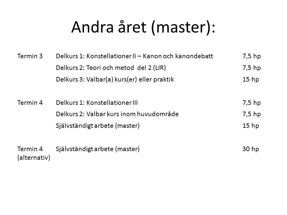 Andra året (master): Termin 3Delkurs 1: Konstellationer II – Kanon och kanondebatt7,5 hp Delkurs 2: Teori och metod del 2 (LIR)7,5 hp Delkurs 3: Valbar(a) kurs(er) eller praktik15 hp Termin 4Delkurs 1: Konstellationer III7,5 hp Delkurs 2: Valbar kurs inom huvudområde7,5 hp Självständigt arbete (master)15 hp Termin 4 (alternativ) Självständigt arbete (master)30 hp