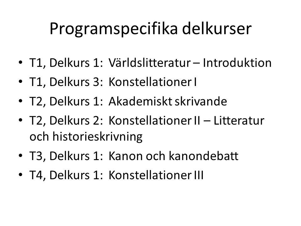 Programspecifika delkurser T1, Delkurs 1: Världslitteratur – Introduktion T1, Delkurs 3: Konstellationer I T2, Delkurs 1: Akademiskt skrivande T2, Delkurs 2: Konstellationer II – Litteratur och historieskrivning T3, Delkurs 1: Kanon och kanondebatt T4, Delkurs 1: Konstellationer III
