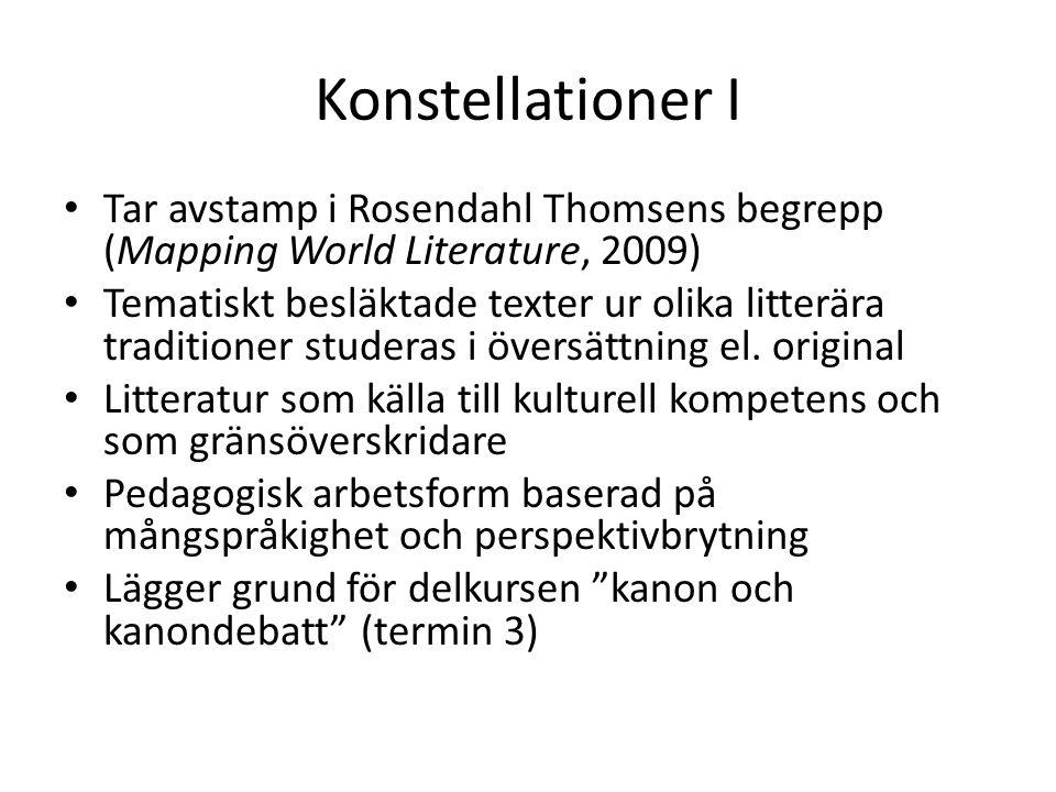 Konstellationer I Tar avstamp i Rosendahl Thomsens begrepp (Mapping World Literature, 2009) Tematiskt besläktade texter ur olika litterära traditioner studeras i översättning el.