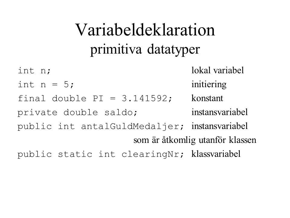 Variabeldeklaration primitiva datatyper int n; lokal variabel int n = 5; initiering final double PI = 3.141592; konstant private double saldo; instansvariabel public int antalGuldMedaljer; instansvariabel som är åtkomlig utanför klassen public static int clearingNr; klassvariabel